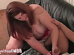 Chubby mature does handjob