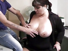 Needy fattie fucked at interview