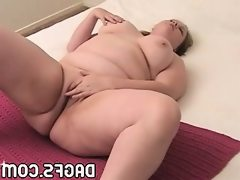 Plump mom with gigantic boobs fingers..