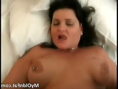 Nasty chubby brunette milf slut takes