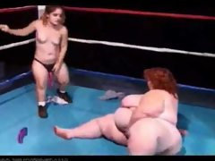 Huge boob bbw wrestles a midget girl..
