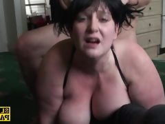 British bbw sprayed with cum over her..