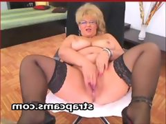 Granny in sexy lingerie undressing on..