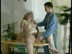 Bbw hairy mature with a young man
