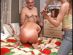 Slut gets down on the bed and guy..